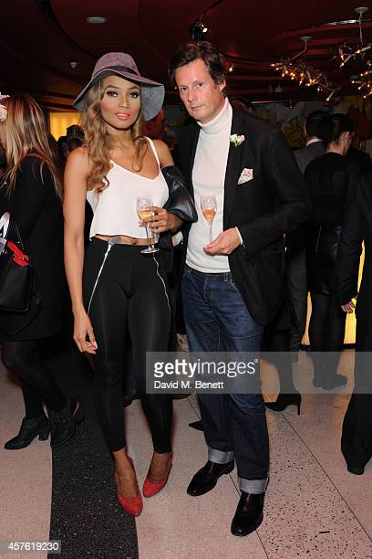 Kadian Noble and Percy Parker attend the 50th Anniversary of Champagne Jacquart at Sushi Samba on October 21 2014 in London England
