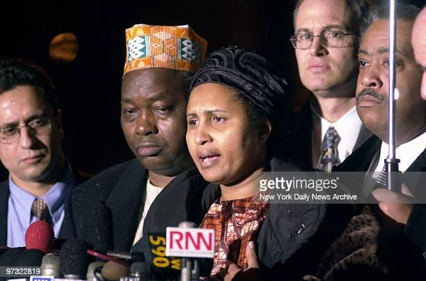 Kadiatou and Saikou Diallo parents of slain West African immigrant Amadou Diallo speak to the media outside the Albany County Courthouse The four New...