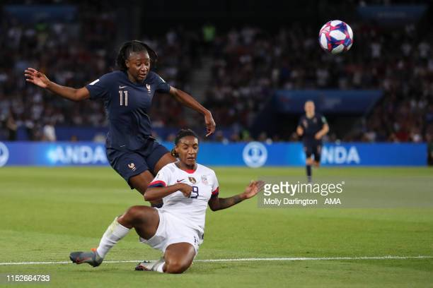 Kadidatou Diani of France and Crystal Dunn of USA during the 2019 FIFA Women's World Cup France Quarter Final match between France and USA at Parc...