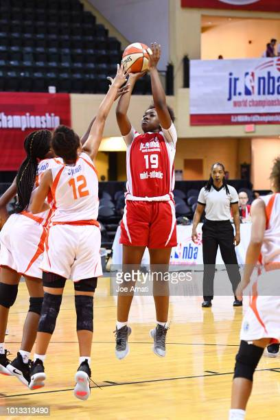 Kadidia Toure of the MidAtlantic Girls shoots the ball against the South Girls during the Jr NBA World Championship on August 8 2018 at ESPN Wide...