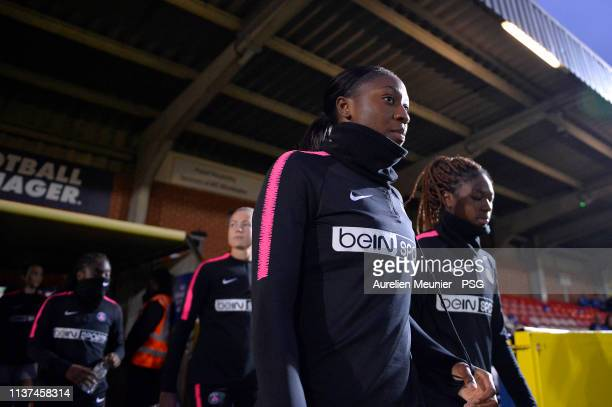Kadidiatou Diani and Aminata Diallo of Paris SaintGermain arrive for warmup before the UEFA Women's Champions League Quarter Final First Leg match...