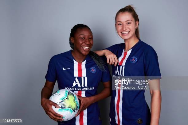 Kadidiatou Diani and Jordyn Huitema of PSG pose during the UEFA Women's Champions League Portrait Shoot on February 24 2020 in Paris France