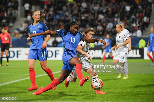 Kadidiatou Diani of France and Megi Doci of Albania during the UEFA Women's EURO 2017 qualification match between France and Albania at Stade...