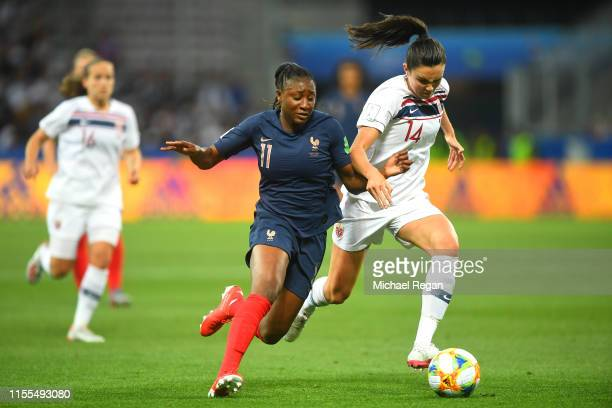 Kadidiatou Diani of France battles for possession with Ingrid Syrstad Engen of Norway during the 2019 FIFA Women's World Cup France group A match...