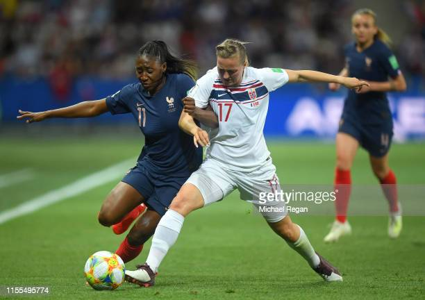 Kadidiatou Diani of France battles for possession with Kristine Minde of Norway during the 2019 FIFA Women's World Cup France group A match between...