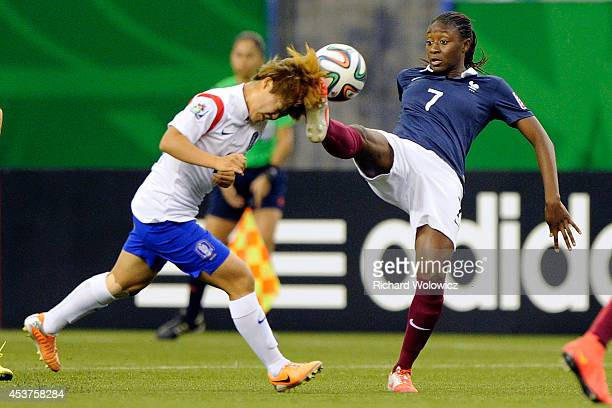 Kadidiatou Diani of France makes contact with the head of Soyi Kim of Korea Republic during the FIFA Women's U20 Quarter Final game at Olympic...