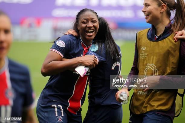Kadidiatou Diani of Paris Saint-Germain celebrates with Perle Morroni after winning the Second Leg of the UEFA Women's Champions League Quarter Final...