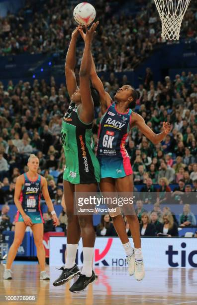 KadieAnn Dehaney of the Melbourne Vixens jumps to knock the ball away during a timeout in the 2nd quarter during the round 13 Super Netball match...