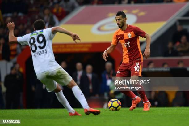 Kadir Keles of Akhisar Belediyespor, Younes Belhanda of Galatasaray during the Turkish Super lig match between Galatasaray v Akhisar Belediyespor at...
