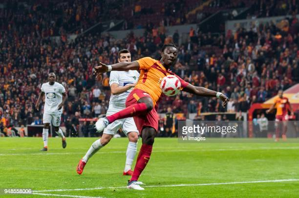 Kadir Keles of Teleset Mobilya Akhisarspor Bafetimbi Gomis of Galatasaray SK during the Ziraat Turkish Cup match Fenerbahce AS and Akhisar...