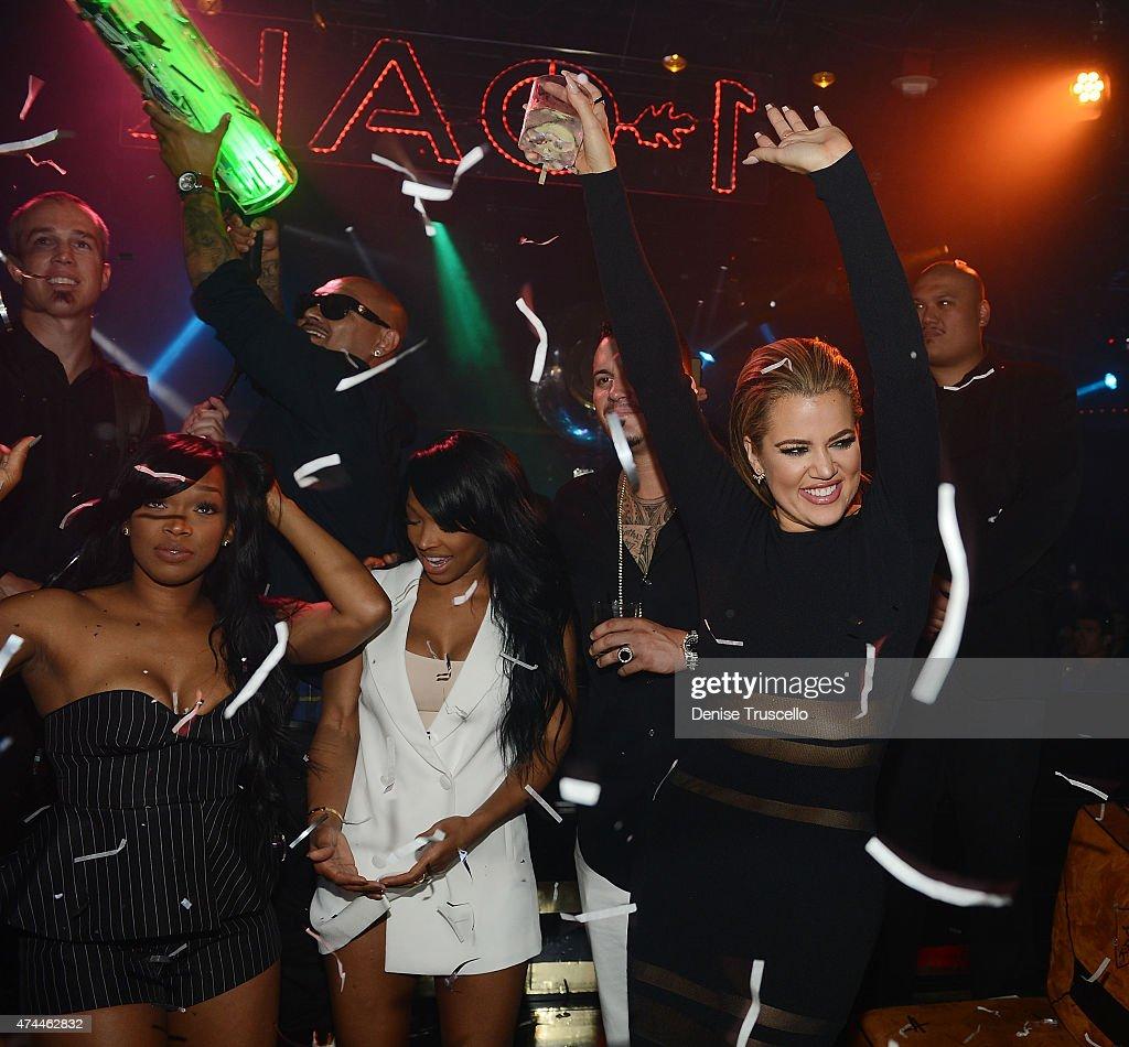 Kadisha Haqq, Malika Haqq and Khloe Kardashian attend 1 OAK Nightclub Las Vegas at the Mirage Hotel & Casino on May 22, 2015 in Las Vegas, Nevada.