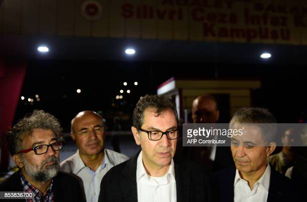 Kadri Gursel speaks to the media after his release from Silivri prison on September 26 2017 in Istanbul following a Turkish court order to free the...