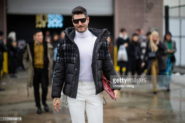 Kadu Dantas is seen outside Boss during New York Fashion Week Autumn Winter 2019 on February 13 2019 in New York City