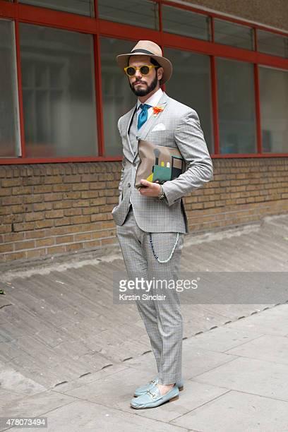 Kadu Dantas wears Ricardo Almeida suit Dudalina shirt Gucci shoes Hermes  tie Topman hat and Moynat 4c8cdec52b9