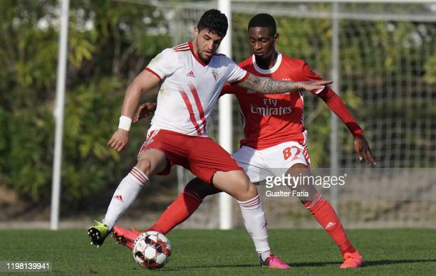 Kady of UD Vilafranquense with Diogo Mendes of SL Benfica B in action during the Liga Pro match between SL Benfica B and UD Vilafranquense at Benfica...