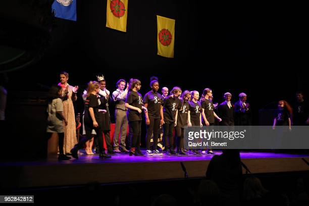 Kae Alexander Caleb Roberts David Oakes Chazz Redhead Jack Robertson and The Cast bows at the curtain call during a fundraising performance of The...