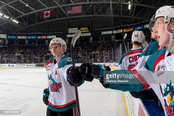 Kaedan Korczak of the Kelowna Rockets fist bumps the bench to celebrate a goal against the Prince George Cougars at Prospera Place on January 4 2019...