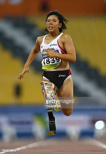 Kaede Maegawa of Japan competes in the women's 100m T42 heats during the Evening Session on Day Eight of the IPC Athletics World Championships at...