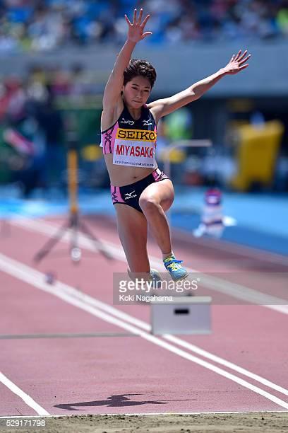 Kaede Miyasaka of Japan competes in the Women's Triple Jump during the SEIKO Golden Grand Prix 2016 at Todoroki Stadium on May 8, 2016 in Kawasaki,...