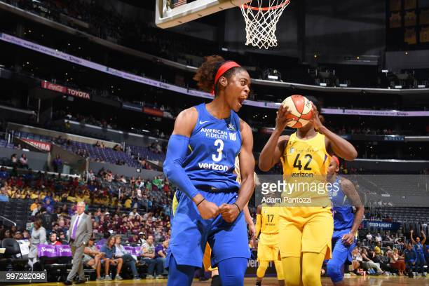 Kaela Davis of the Dallas Wings reacts during the game against the Los Angeles Sparks on July 12 2018 at STAPLES Center in Los Angeles California...