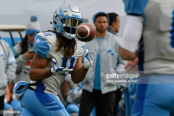 Kaelin Clay of Salt Lake Stallions makes a catch against the Arizona Hotshots during their Alliance of American Football game at Rice Eccles Stadium...