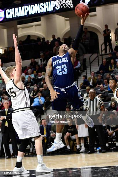 Kaelon Harris guard The Citadel Bulldogs jumps with the basketball against Trevor Stumpe guard Wofford College Terriers Saturday January 6 at...