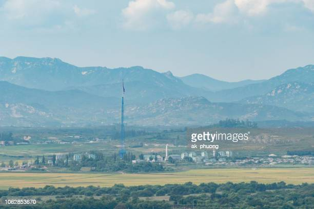 kaesong industrial park from south korea view - demilitarized zone stock pictures, royalty-free photos & images