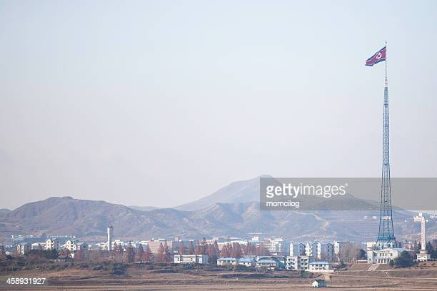 Kaesong village and biggest North Korea flag
