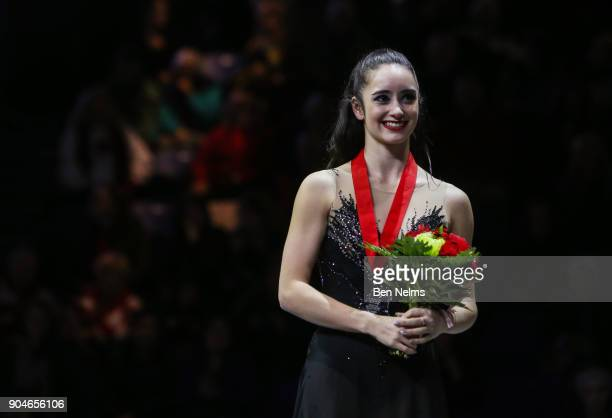 Kaetlyn Osmond celebrates her silver medal in the senior women's free program during the 2018 Canadian Tire National Skating Championships game at...
