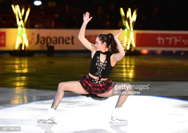 Kaetlyn Osmond from Canada performs a routine during an Exhibition Gala at The World Figure Skating Championships 2018 in Milan on March 25 2018...