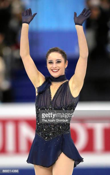Kaetlyn Osmond of Canada applauds fans after competing in the Ladies Singles Short Program during day two of the ISU Junior Senior Grand Prix of...