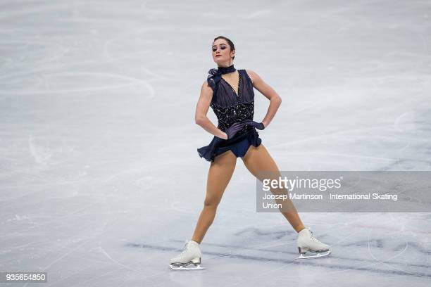 Kaetlyn Osmond of Canada competes in the Ladies Short Program during day one of the World Figure Skating Championships at Mediolanum Forum on March...