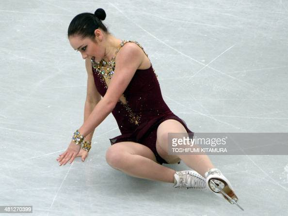 kaetlyn osmond of canada falls on the ice during her free