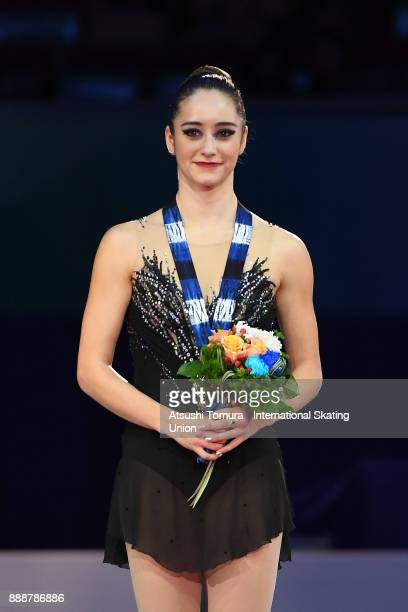 Kaetlyn Osmond of Canada poses on the podium after the ladies free skating during the ISU Junior Senior Grand Prix of Figure Skating Final at Nippon...