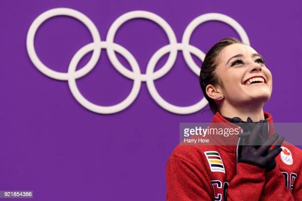 Kaetlyn Osmond of Canada reacts after competing during the Ladies Single Skating Short Program on day twelve of the PyeongChang 2018 Winter Olympic...