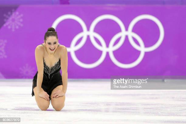 Kaetlyn Osmond of Canada reacts after competing in the Figure Skating Ladies Single Free Skating on day fourteen of the PyeongChang 2018 Winter...