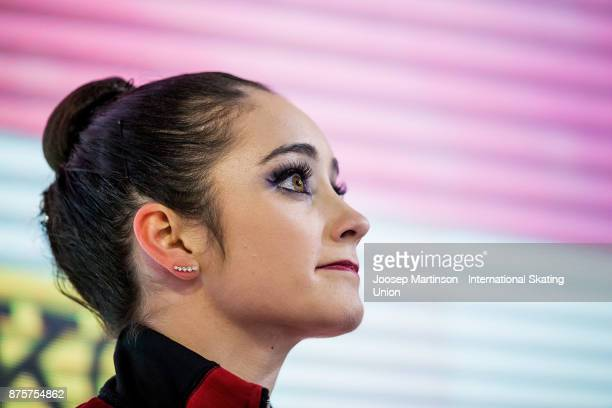 Kaetlyn Osmond of Canada reacts at the kiss and cry in the Ladies Free Skating during day two of the ISU Grand Prix of Figure Skating at Polesud Ice...