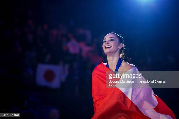 Kaetlyn Osmond of Canada reacts in the Ladies medal ceremony during day three of the World Figure Skating Championships at Mediolanum Forum on March...