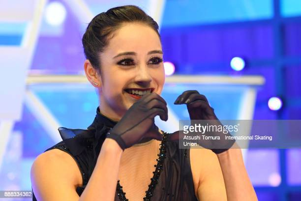 Kaetlyn Osmond of Canada smiles at the kiss and cry after the mladies short program during the ISU Junior Senior Grand Prix of Figure Skating Final...