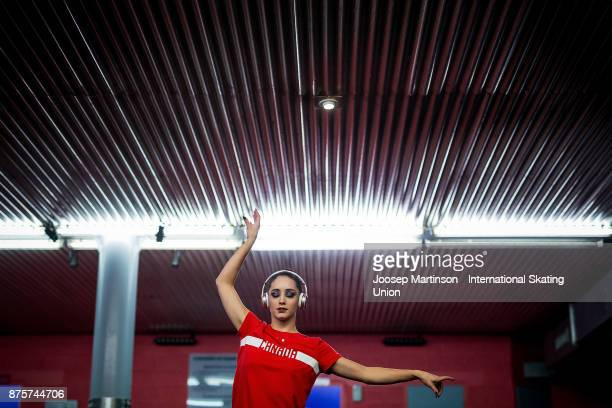 Kaetlyn Osmond of Canada warms up prior to the Ladies Free Skating during day two of the ISU Grand Prix of Figure Skating at Polesud Ice Skating Rink...