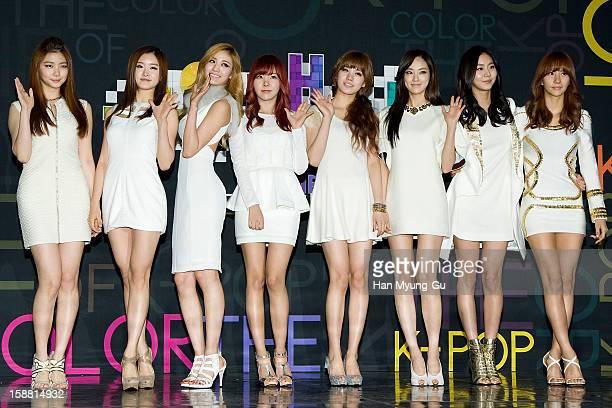 Kaeun EYoung Nana Raina Lizzy Juyeon Uie and JungA of South Korean girl group After School arrive at the 2012 SBS Korea Pop Music Festival named 'The...