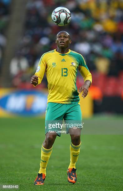 Kagisho Dikgacoi of South Africa controls the ball during the opening match of the FIFA Confederations Cup between South Africa and Iraq at Ellis...