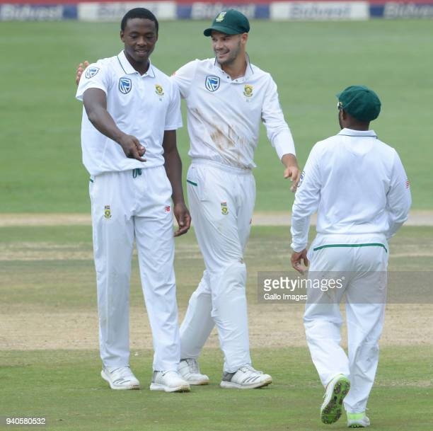 Kagiso Rabada and Aiden Markram of the Proteas celebrate the wicket of Nathan Lyon of Australia during day 3 of the 4th Sunfoil Test match between...