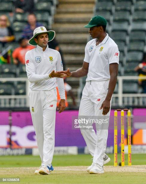 Kagiso Rabada and Keshav Maharaj of South Africa celebrate during day 4 of the 4th Sunfoil Test match between South Africa and Australia at Bidvest...