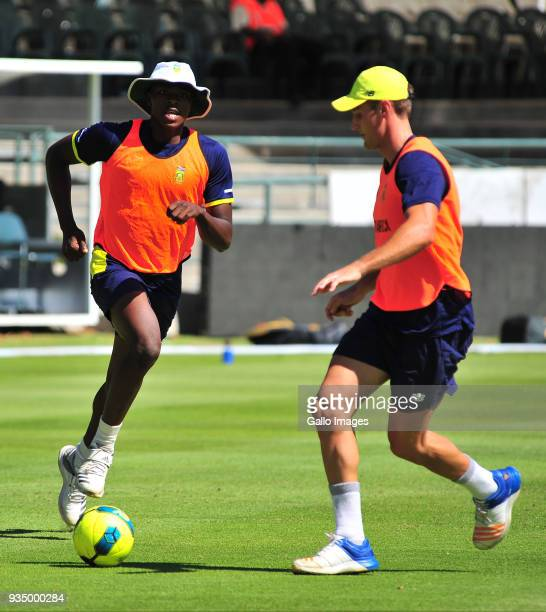 Kagiso Rabada and Theunis de Bruyn during the South African national mens cricket team training session and press conference at PPC Newlands Stadium...
