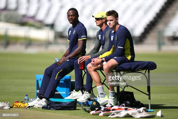 Kagiso Rabada Dale Steyn and Morne Morkel during the South African national cricket team training session at PPC Newlands on January 02 2018 in Cape...