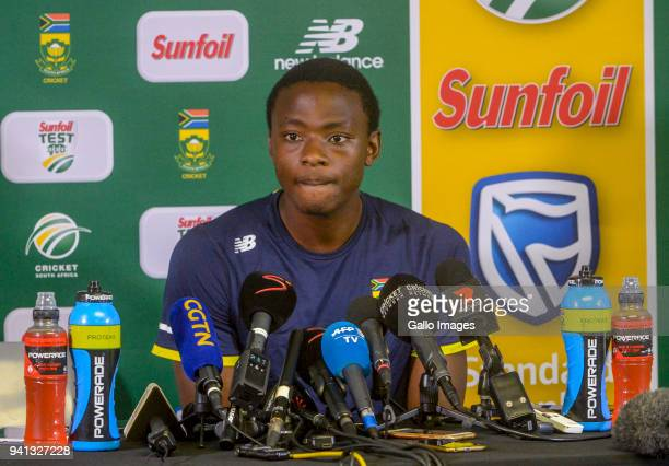Kagiso Rabada during day 5 of the 4th Sunfoil Test match between South Africa and Australia at Bidvest Wanderers Stadium on April 03 2018 in...