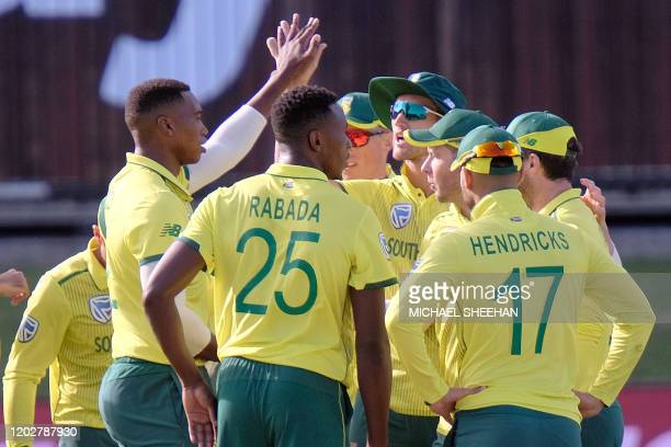 Kagiso Rabada of South Africa and team mates celebrate the wicket of Aaron Finch of Australia during the second T20 international cricket match...