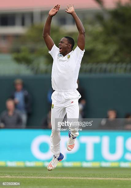 Kagiso Rabada of South Africa appeals for the wicket of Peter Nevill of Australia during day one of the Second Test match between Australia and South...