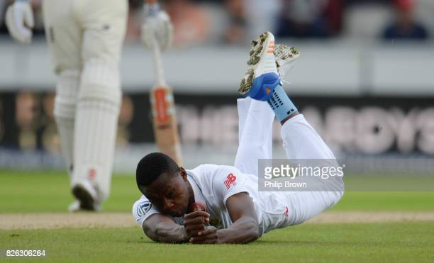 Kagiso Rabada of South Africa attempts and fails to catch Keaton Jennings of England during the 4th Investec Test match between England and South...